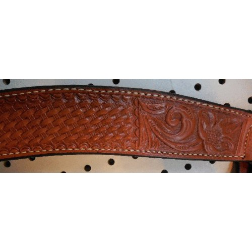 Chestnut Color Billy Cook Breast Collar With Flower & Basket Weave Pattern #903