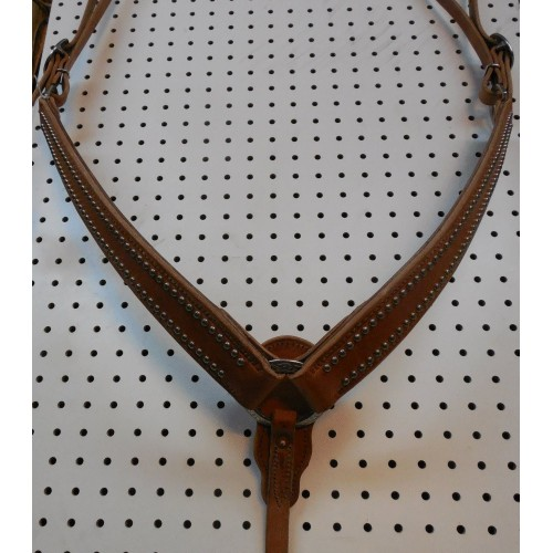 Harness Leather Breast Collar With Engraved Spots
