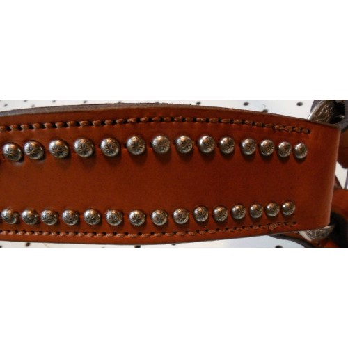 Chestnut Leather Breast Collar With Engraved Spots