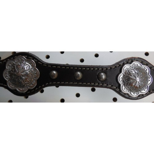 Brown Leather Breast Collar With Engraved Spots And Conchos