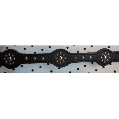 Black Leather Breast Collar With Target Style Nickle Spots