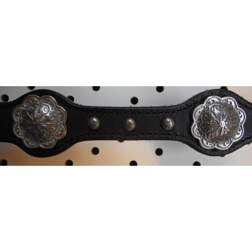 Black Leather Breast Collar With Engraved Spots And Conchos