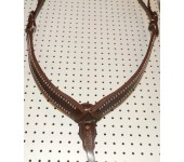 Brown Leather Breast Collar With Nickle Spots