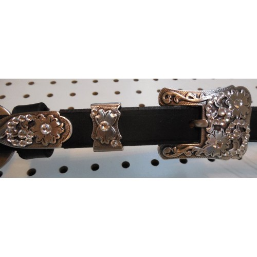 Black Leather Swarovski Crystal Breast Collar