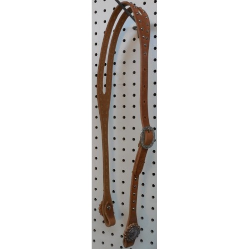 Harness Split Ear Headstall With Engraved Spots