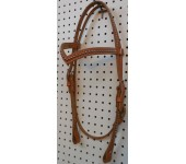 Russet Leather V Browband Headstall With Nickle Spots