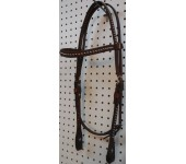 Chestnut Leather Straight Browband Headstall With Nickle Spots