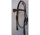 Chestnut Leather V Browband Headstall With Nickle Spots