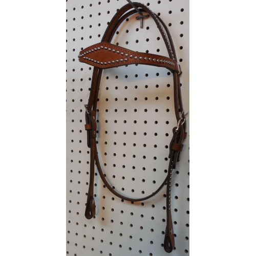 Chestnut  Leather Diamond Browband Headstall With Nickle Spots
