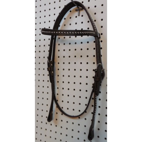 Brown Leather Straight Browband Headstall With Nickle Spots