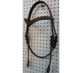 Brown Leather V Browband Headstall With Nickle Spots