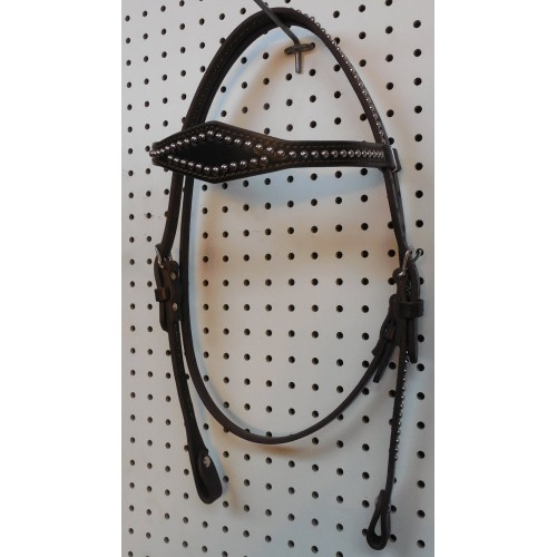 Brown Leather Diamond Browband Headstall With Nickle Spots