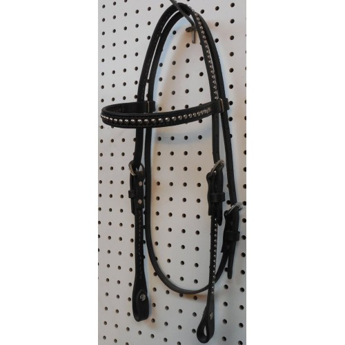Black Leather Straight Browband Headstall With Nickle Spots