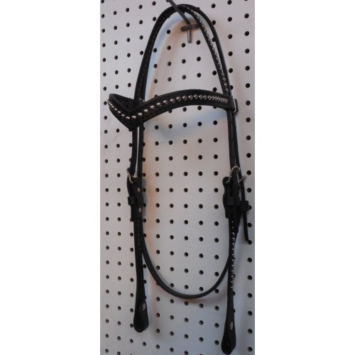 Black Leather V Browband Headstall With Nickle Spots