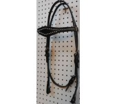Black Leather Diamond Browband Headstall With Nickle Spots