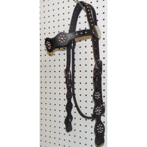 Black Leather Target Browband Headstall With Nickle Spots