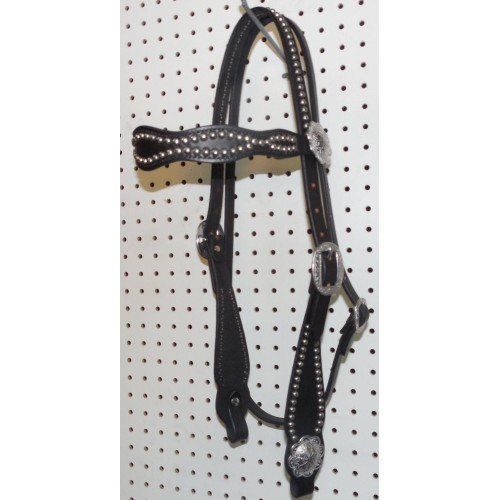 Black Leather Wave Browband Headstall With Engraved Spots