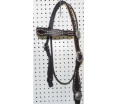 Black Leather Wave Browband Headstall With Nickle Spots