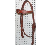 Chestnut Leather Target Browband Headstall With Nickle Spots