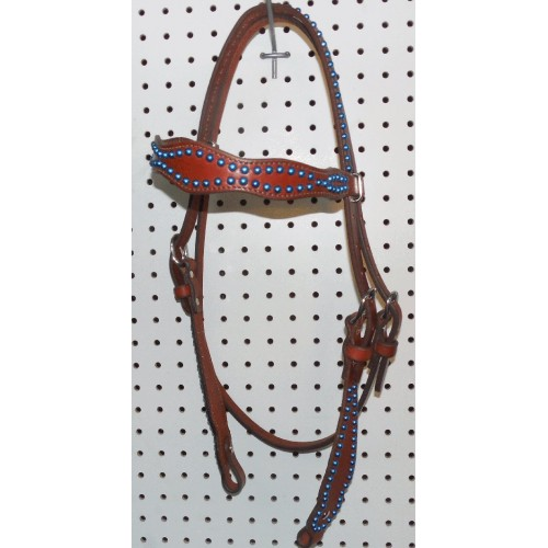 Chestnut Leather Headstall With Turquoise Spots