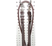 Brown Leather Split & Sewn Reins With Nickle Spots