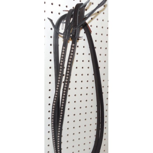 Black Leather Split Reins With Nickle Spots