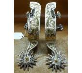 E. Garcia Flower Shank Spurs with Brass Overlay