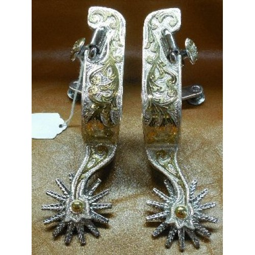 E. Garcia Flower Shank Spurs with Brass Overlay